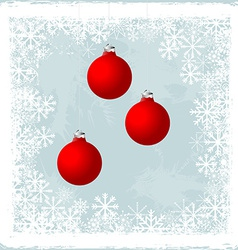 Christmas balls over a frozen window vector image