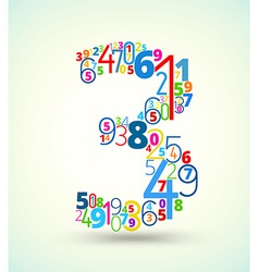 Number 3 colored font from numbers vector