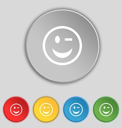 Winking face icon sign symbol on five flat buttons vector