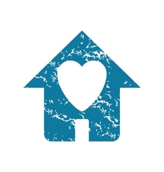 Grunge beloved house icon vector