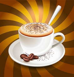 Cup of cappuccino over rays vector