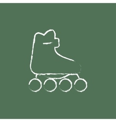 Roller skate icon drawn in chalk vector