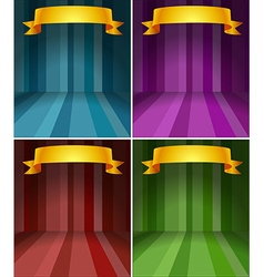 Four different color stages with ribbon vector