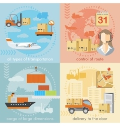 Set of logistics and delivery shipping concepts vector