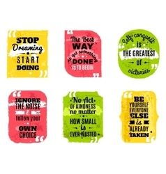 Famous quotes colored textured icons set vector