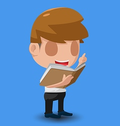 Man Stand Reading Book Character vector image
