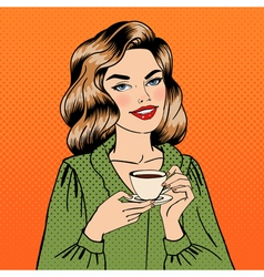 Beautiful woman with cup of coffee pin up girl vector