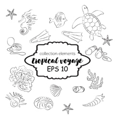 Collection with marine and tourism elements vector