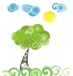 Abstract Green Tree and Blue clouds vector image vector image