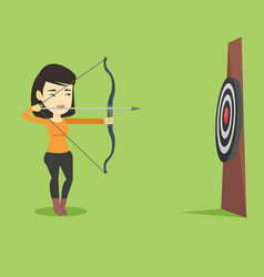 archer aiming with bow and arrow at the target vector image vector image