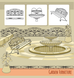 bench fountain railings and flowers in pot vector image vector image