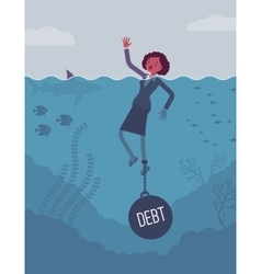 Businesswoman drowning chained with a weight Debt vector image