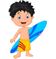 Cartoon little kid holding surfboard vector
