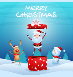 cheerful santa claus in gift box snowman reindeer vector image