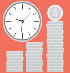 Clock with silver coin stock time is money vector