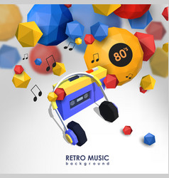 Creative background with retro cassette player vector