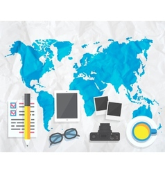 Creative map with camera glasses photos vector image