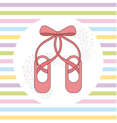 elegant of ballet pink shoes with ribbon stripes vector image
