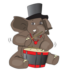Elephant drumming vector