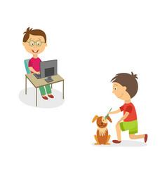 Flat kids doing household chores set vector