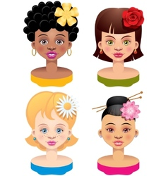 Four girls vector