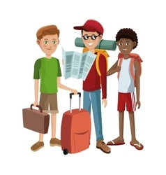 Group boys traveling tourist vector