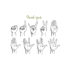 Hand drawn hands signs with conceptual lettering vector image