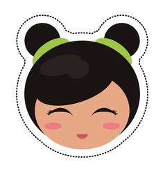 kokeshi head face doll vector image