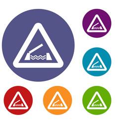 lifting bridge warning sign icons set vector image vector image