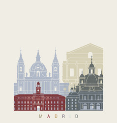 madrid v2 skyline poster vector image