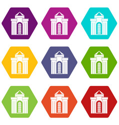 Medieval palace icon set color hexahedron vector