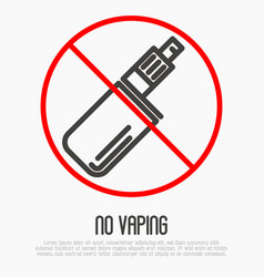 No vaping thin line icon no smoking area vector
