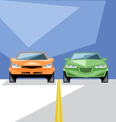 Orange and green cars at start for a racing vector