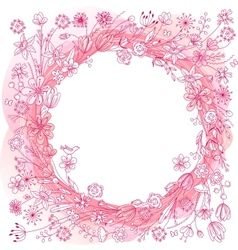 Pink wreath with stylized flowers vector image vector image
