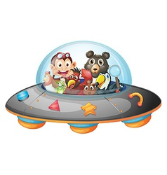 Playful animals inside the saucer vector