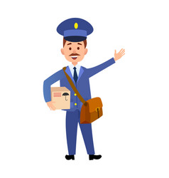postman delivering parcel isolated cartoon vector image vector image
