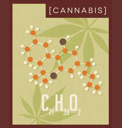 Retro poster of cannabis plant molecule vector