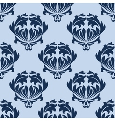 Seamless baroque blue leaves scrolls background vector