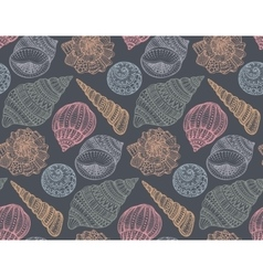 Seamless pattern with hand drawn ornate seashells vector image vector image