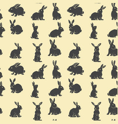 Seamless pattern with rabbits design element vector