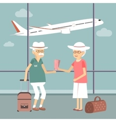 Senior Couple at Airport vector image vector image