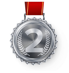 Silver medal silver 2nd place badge sport vector