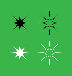 star icon black and white color set vector image vector image