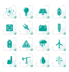 Stylized power and electricity industry icons vector