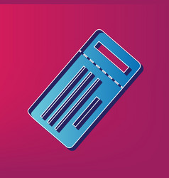 Ticket simple sign blue 3d printed icon vector