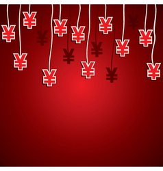 Yen currency symbol red background vector