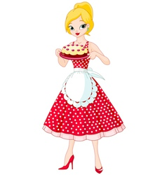 Young woman serving cake vector