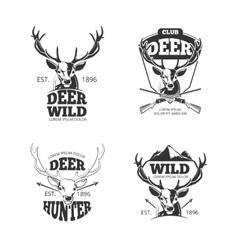 Deer head retro badges labels logos vector image