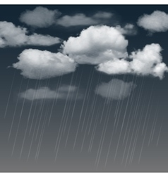 Rainclouds and rain in the dark sky vector