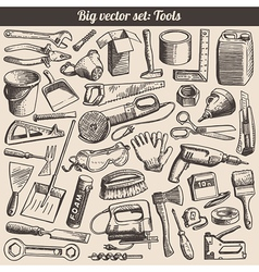 Doodles Collection Of Working Tools Instruments vector image